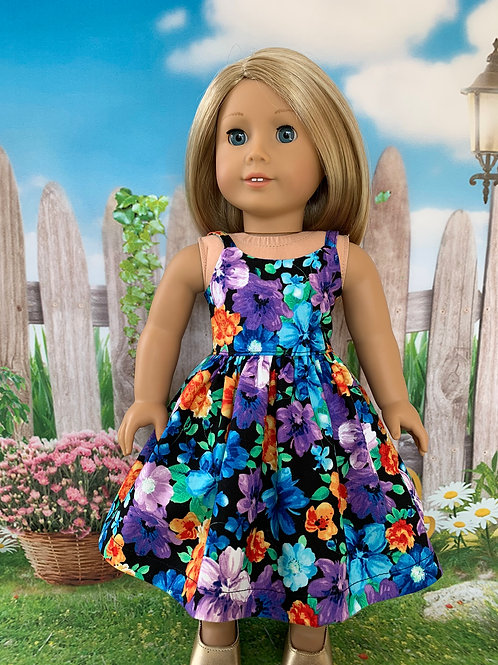 "Multi Colored Floral on Black Sundress for 18"" Doll"