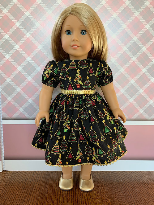 "Christmas Tree Holiday Dress for 18"" Doll"