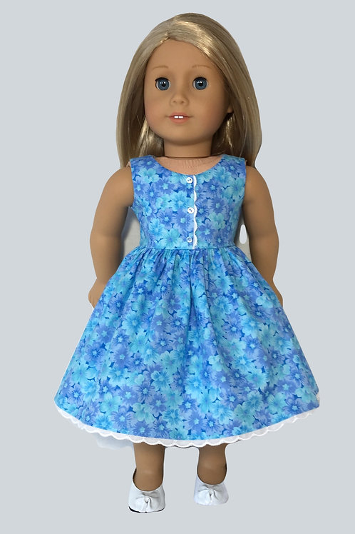 Blue, floral dress with princess seaming