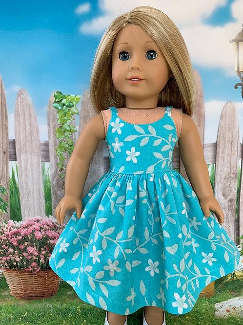 """Teal Print Sundress for 18"""" Doll"""