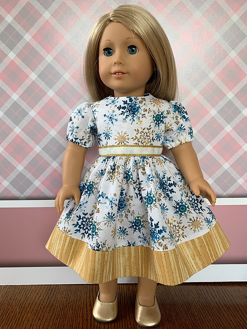 """Blue/Gold Snowflake Dress for 18"""" Doll"""