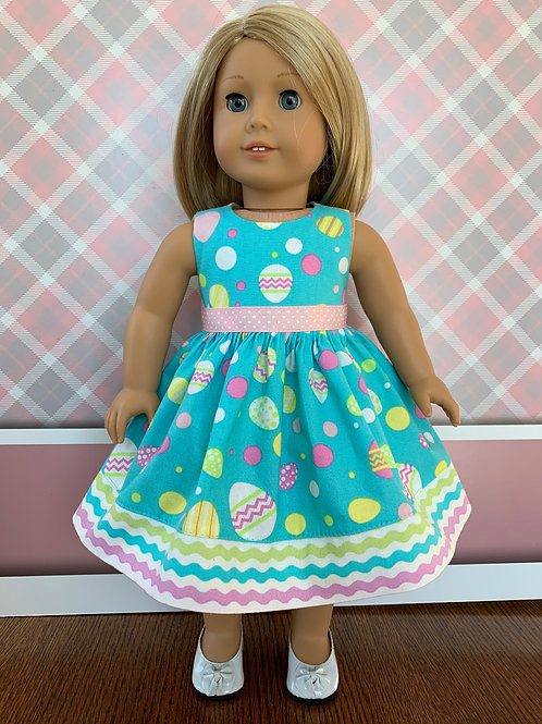 "Easter Egg on Teal Background Dress for 18"" Doll"
