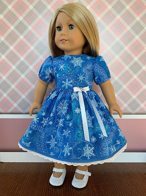 "Blue Snowflake Christmas Dress for 18"" Doll"
