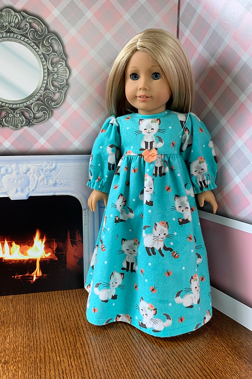 """Kitten Print Flannel Nightgown For 18"""" Doll"""
