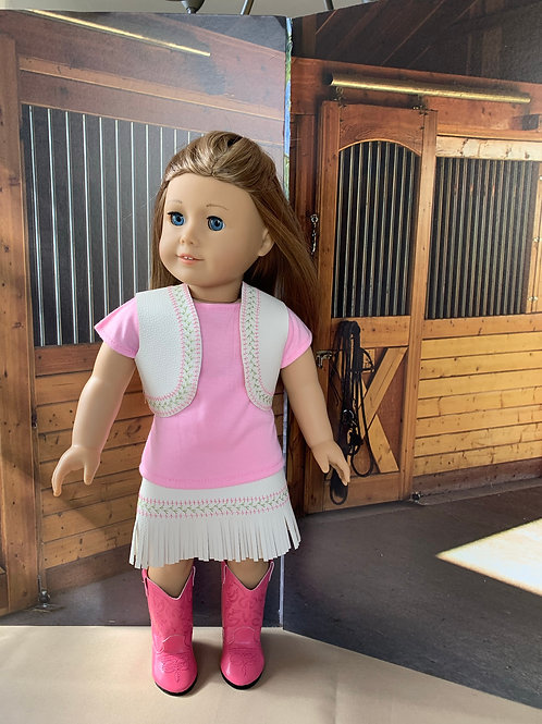 """Pink & White Cowgirl Outfit with Fringed Skirt for 18""""doll"""