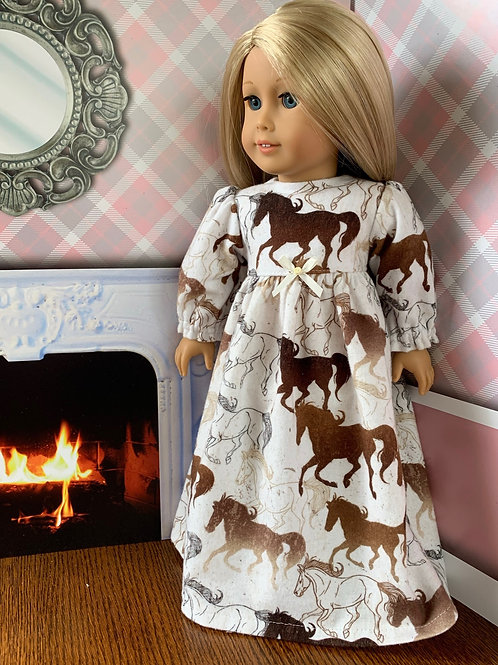 """Horse Print Flannel Nightgown for 18""""Doll"""