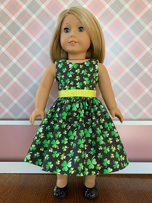 """Green and Yellow Shamrock Dress for 18"""" Doll"""
