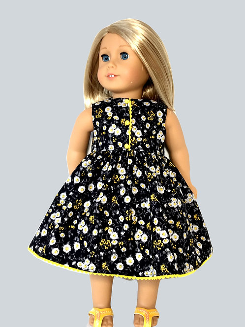 Black and yellow floral print dress