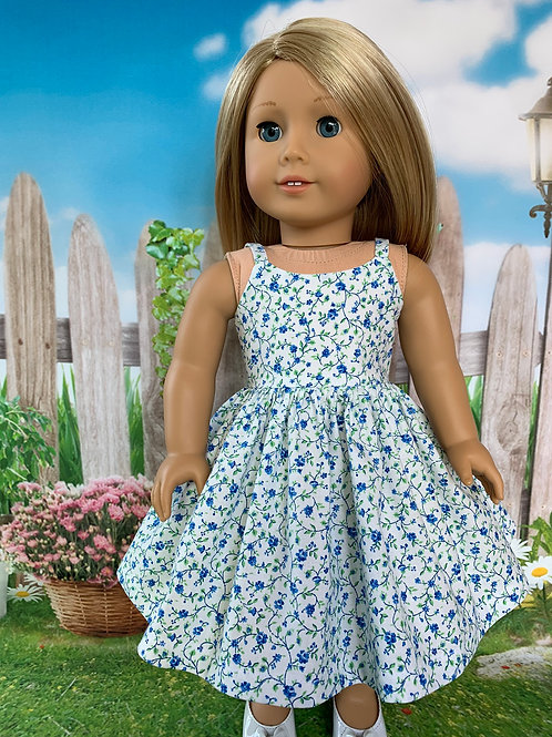 "Blue Mini Floral Sundress for 18"" Doll"