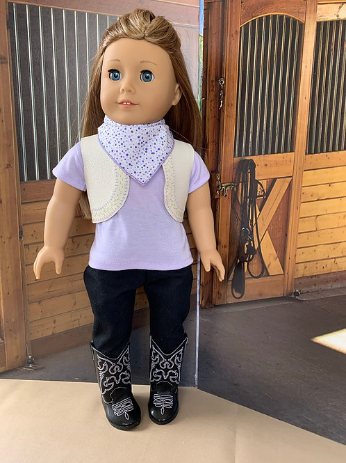 "Lavender & Black Cowgirl Outfit for 18"" doll"