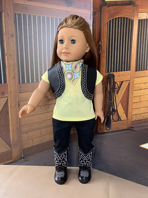 "Yellow & Black Cowgirl Outfit with Jeans for 18""doll"