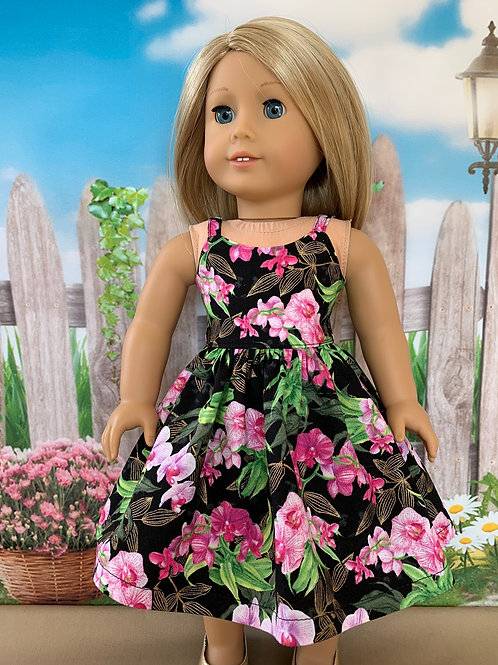 """Bright Pink and Black Sundress for 18""""Doll"""