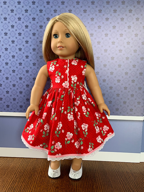 """Pink Floral Print on Red Background for 18"""" Doll"""
