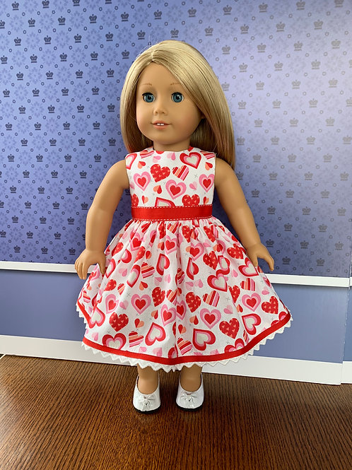 "Red and Pink Hearts on White Background Sleeveless Dress for 18"" Doll"