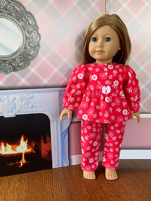 """Red Flannel Pajamas for 18""""Doll"""