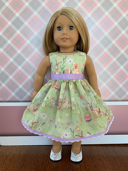 """Bunnies and Flowers Print Easter Dress for 18"""" Dolls"""