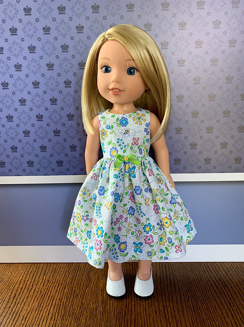 Pale Blue Floral and Butterfly Dress for Wellies