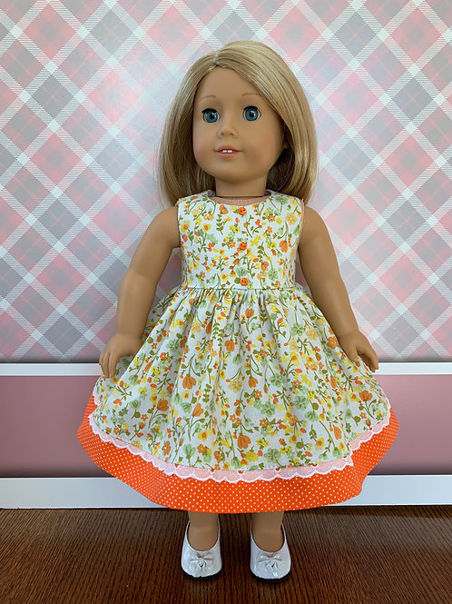 """Orange and Yellow FloralPrint Dress for 18""""Doll"""