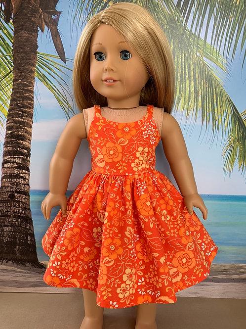 """Bright Orange Sundress for 18""""Doll"""