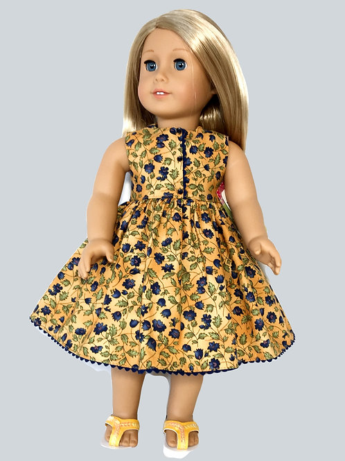 Gold and navy floral print dress