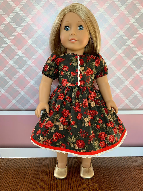 """Red Floral Christmas Dress for 18"""" Doll"""