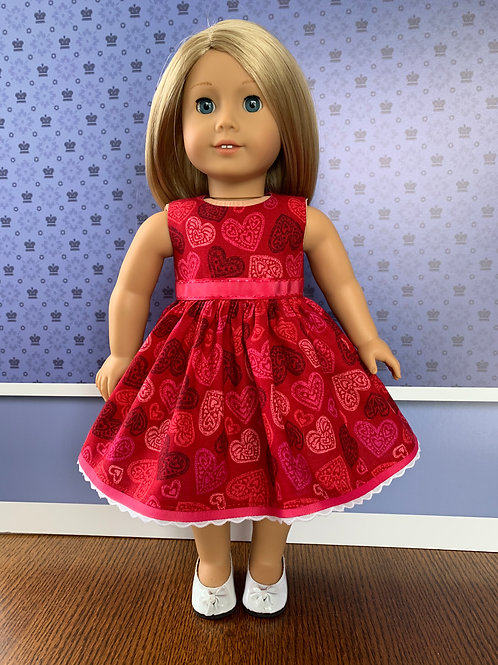 """Multicolored Hearts on Red Background Sleeveless Dress for 18"""" Doll"""