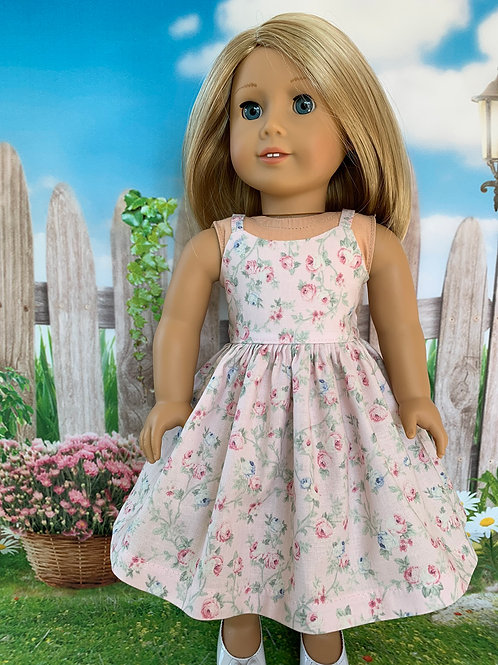 "Pastel Pink Roses Sundress for18""Doll"