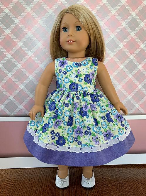 "Purple Flowers Dress for 18"" Doll"