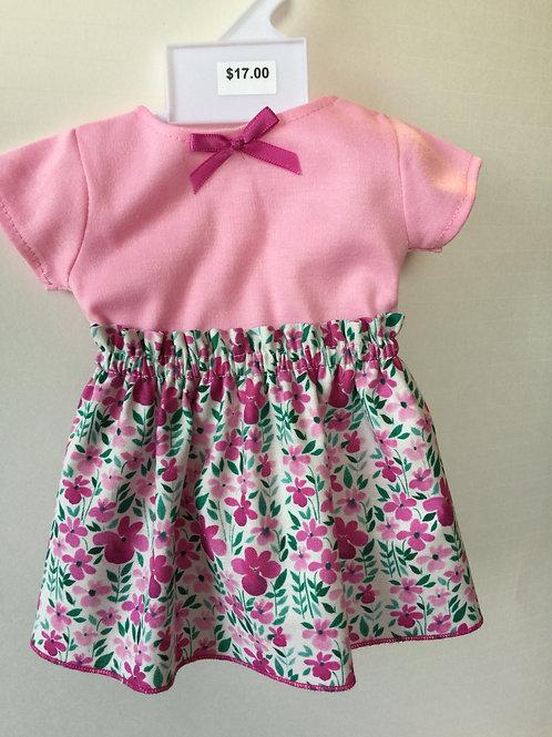 Pink floral print skirt with pink tee shirt top
