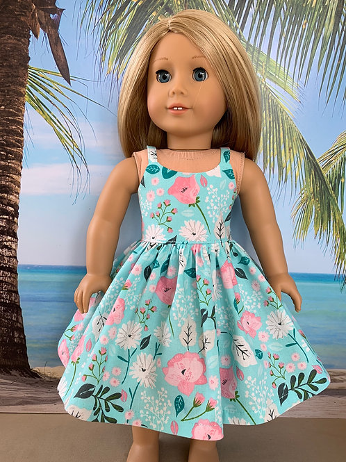 "Aqua & Pink Sundress for 18""Doll"