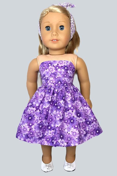 Purple, floral print, strapless sundress