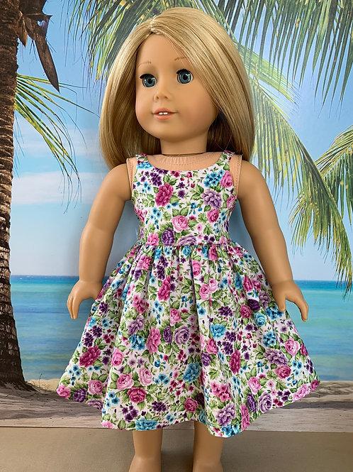 "Pink Floral Print Sundress For 18"" Doll"