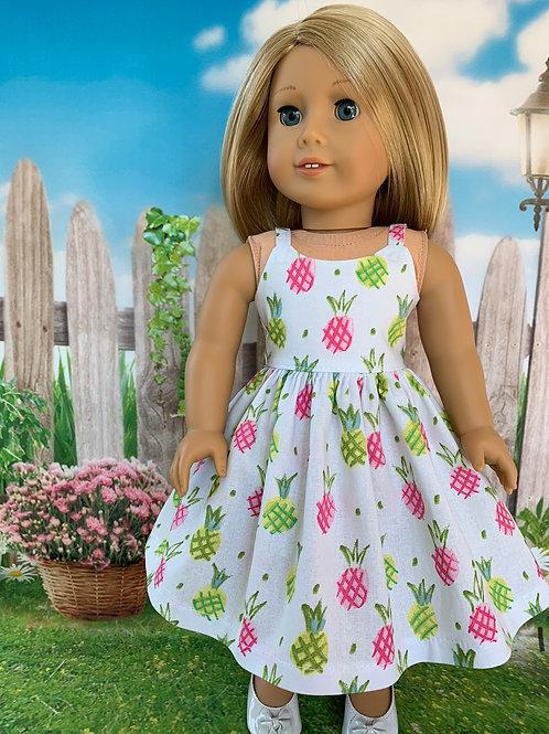 """Pineapple Print Sundress for 18"""" Doll"""