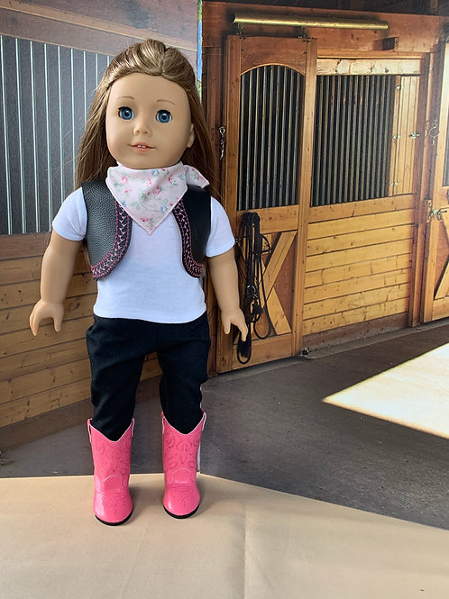 "Pink & Black Cowgirl Outfit for 18"" doll"