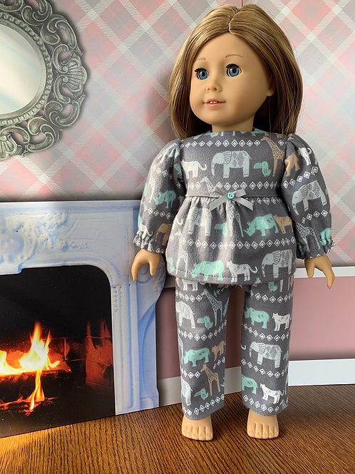 "Gray, Jungle Animals Flannel Pajamas for 18""Dolls"