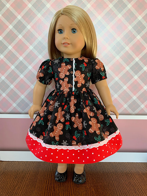 """Gingerbread Christmas Dress for 18"""" Doll"""