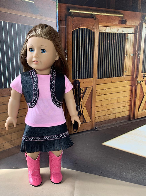"Pink & Black Cowgirl Outfit with Fringed Skirt for 18"" doll"