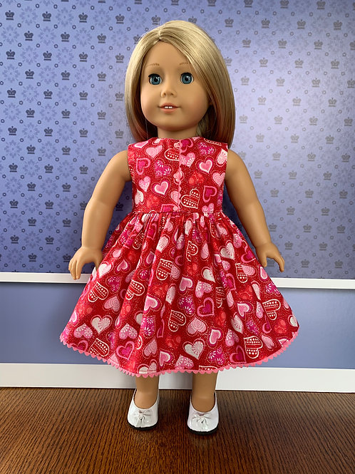 "Pink Hearts and Silver Glitter on Red Background Sleeveless Dres for 18"" Doll"