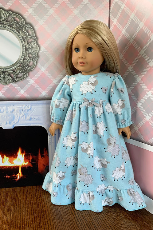 "Blue, Lamb PrintFlannel Nightgown For 18"" Doll"