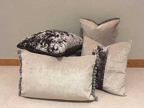 Pom-pom Cushion (Grey and Dusky Pink)