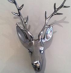 Silver Stag Head Photo fo a hydrangea in Thistlegrey Interiors, Clavering, Essex, Interior Design, Beautiful Interiors