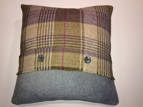 Grey Wool Cushion with tartan front