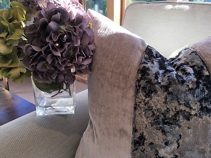 Velvet Cushions Photo fo a hydrangea in Thistlegrey Interiors, Clavering, Essex, Interior Design, Beautiful Interiors