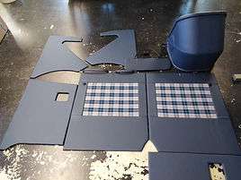 Türpanneaus neu beziehen Muster Stoff Kunstleder