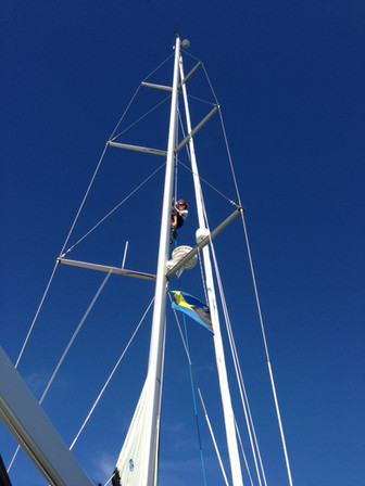 Up the rig in Green Turtle Cay, Bahamas