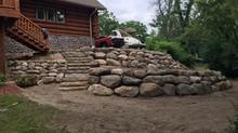 Boulder Retaining Walls - Lake Geneva, WI - Done by Geneva Landscapes, LLC