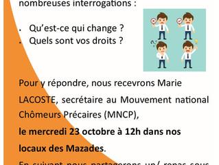 Venez vous informer sur la réforme de l'assurance chômage le 23/10 à 12h