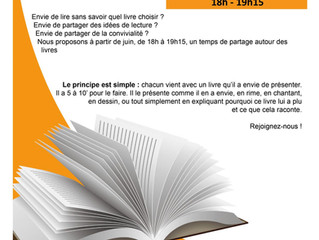 """Venez partager vos idées """"lecture"""". Prochaine date : le jeudi 16 juillet à 18h"""