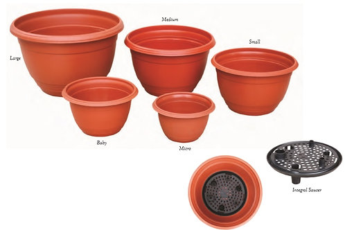 Round Hanging Container Set (Integral Saucer)