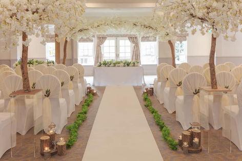 blossom tree hire, blossom tree centrepieces, aisle style, asain wedding decorations, midlands venue decorations.